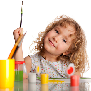 Kids doing creative activities such as painting, drawing at home