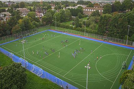 View of hockey pitches
