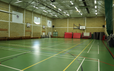 SuperCamps school holiday childcare at Putney High school, indoor sports hall