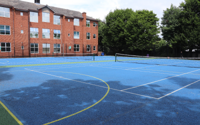 SuperCamps school holiday childcare at Putney High school, outside courts and sports facilities